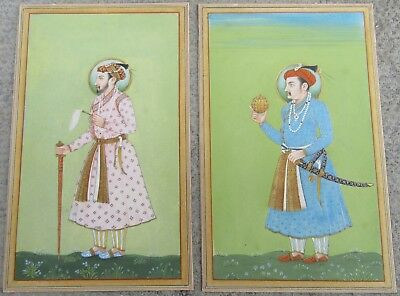 2 Mughal Emperors Antique Indian Miniature Paintings Jaipur Late 19Th Century.