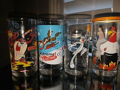 Looney Tunes 1998 Collectable Ixl Glasses (X4)