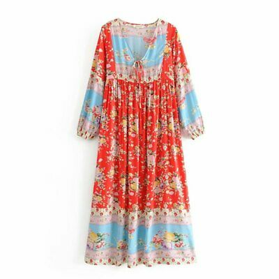 New Womens Ethnic Floral Rose Print Tassel Tie Long Sleeve Maxi Dress 3 Colors