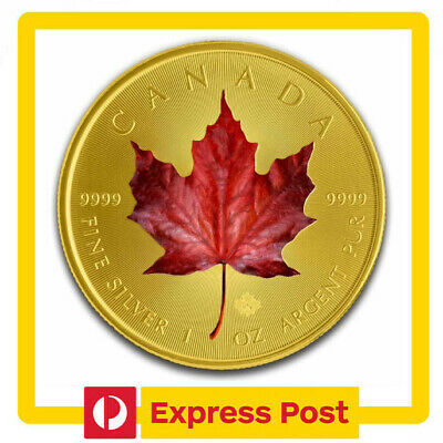 2019 Red Maple Leaf Colourised Gilded 1oz .9999 Silver Coin - RCM