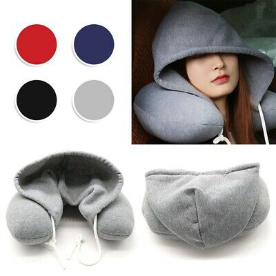Hooded Travel Neck Pillow Flight Hoodie Cushion Support With Hood & Drawstring