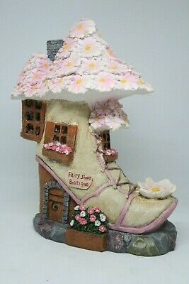Fairy Garden House Solar Shoe Boutique with LED Light and Flowers