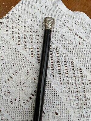 Walking Stick Cane 1923 Hallmarked Solid Silver Pommel Ebony Wood Shaft 93cm