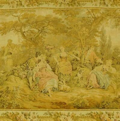 Gorgeous Vintage French Tapestry Wall Hanging, Romantic Chateau Jardin Scene