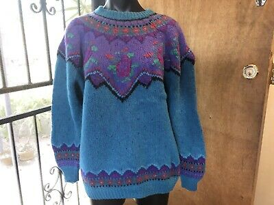 Vintage Retro 80s 90s Wool Jumper M Woolen Knit Colourful Handmade Floral Ugly