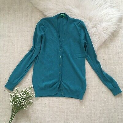United Colour Of Benetton Blue 100% Merino Wool Cardigan Size S 8 Knitted