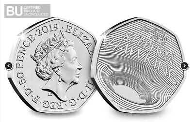 2019 50P Coin Stephen Hawking Black Hole Certified Bu Fifty Pence