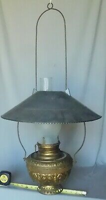 Antique hanging store lamp chandelier embossed brass tin shade frosted chimney
