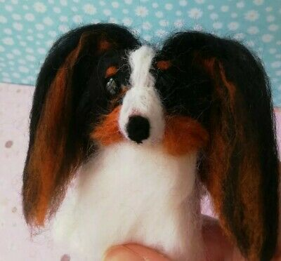 Needle Felt Papillon Puppy Dog Ooak