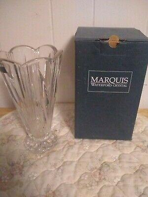 "Waterford Marquis Festivale Footed Crystal Vase 8"" Scalloped Rim+Foot New Boxed"