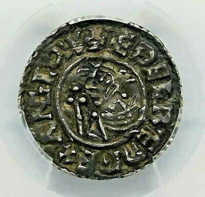 PGCS AU ANGLO-SAXON Aethelred II (978-1016) Exquisite Penny England. Silver Coin