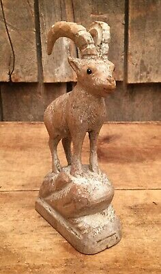 Vintage Hand Carved Wooden Mountain Goat Folk Art Ornament Figurine Home Decor