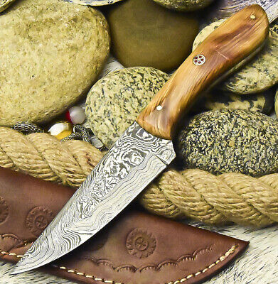Cutlery Salvation Handmade Damascus Steel Blade  Full Tang Knife | Olive Wood