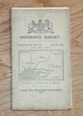 1912 OS ORDNANCE SURVEY Map LONDON Essex 1 inch to 1 mile CLOTH South East Maps