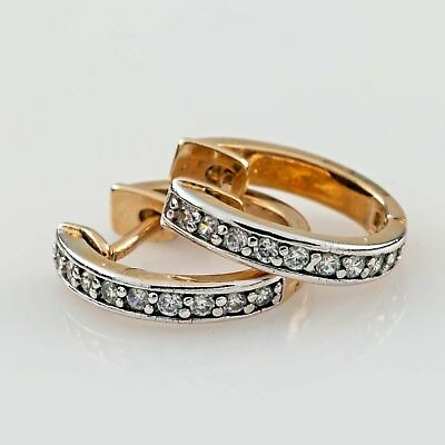 14k or Jaune Diamant Mini-Hoop Boucles D'Oreilles Strass