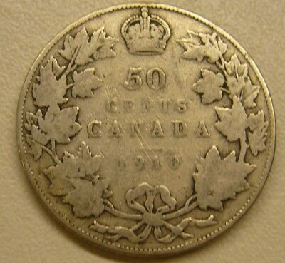 1910 Canada Silver 50 Fifty Cent King Edward VII Coin