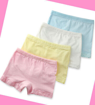 4 Pack Girls Boxer Shorts Underwear Briefs Cotton Knickers Age 4-11 years