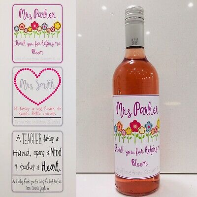 Personalised Wine Bottle Sticker-label, Thank You Teacher Gift-Present