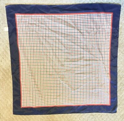 "Vintage Glentex Scarf - Red, White & Navy Windowpane Check - 26 1/2"" Square"