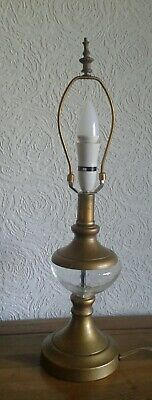 Vintage Brass & Glass Table Lamp - Stunning