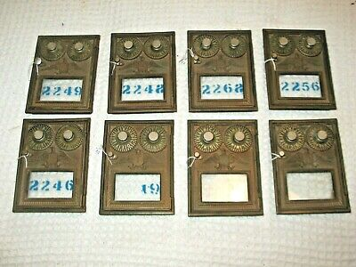 USPS Post Office Bronze Mail Box Doors Two Dial Corbin Eagle Lock 100 Years Old