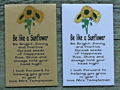 10 PERSONALISED SUNFLOWER Seed Packets Birthday Party Bag