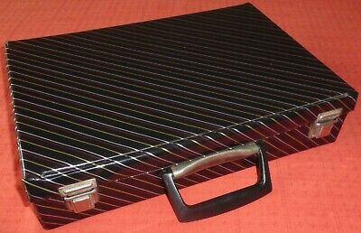 Black Striped Audio Cassette Tape Storage Box/Carry Case For 32 Tapes