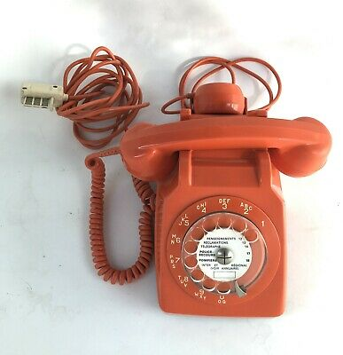 Telephone Socotel S 63 Orange A Cadran Vintage Deco Loft Fonctionne 1979