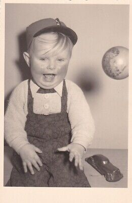 Vintage Silver Photograph RPPC 1930 Boy About to Get Hit in Face with Ball