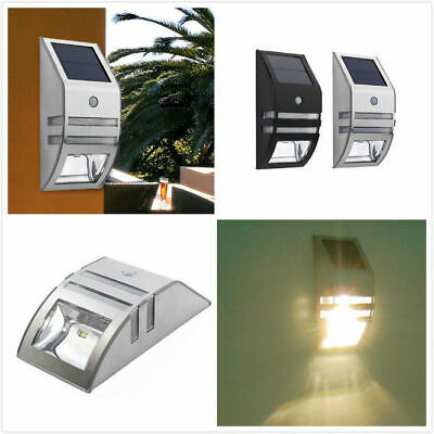 2 LED Solar Luz de Pared Impermeable Sensor de Movimiento Lámpara Exterior