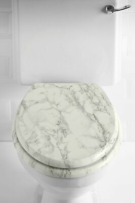 Marble Effect No Rust Hinges Bathroom WC Toilet Seat Anti-Bacterial Coating