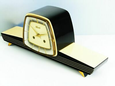 A Dream In Black Later Art Deco  Hermle  Chiming Mantel Clock From 50´S
