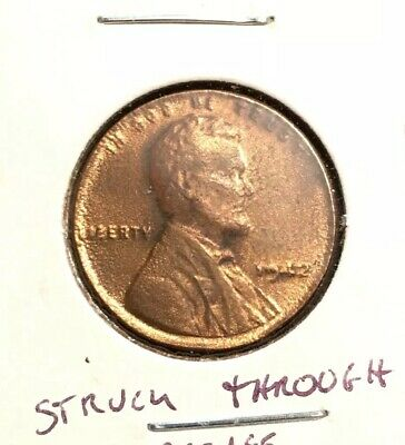 1942 Lincoln Wheat Penny - Struck Through Error - Serious Grease (Read!) RD UNC