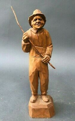 Vintage Signed Hand Carved Wood Figure of a Fisherman