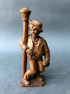 Vintage Hand Carved Wood Figure of Drunk at Lamp Post