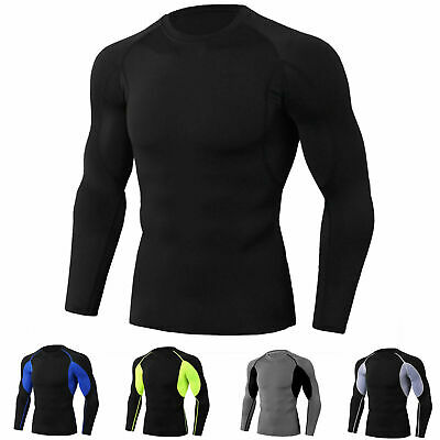 Men's Athletic Compression Tops Sports Gym Running Long Sleeves T-Shirt Cool Dry
