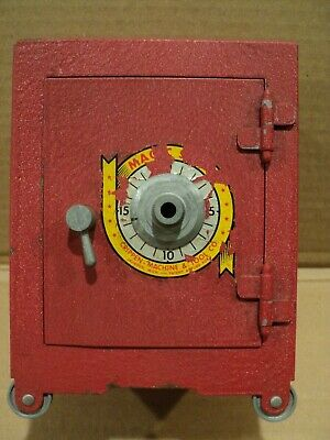 "Vintage Red Magic Safe Coin Bank Crippen Machine & Tool Co.  5"" x 7"" x 4"""