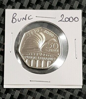 2000 Brilliant Uncirculated 50p Coin,Fifty Pence,Bunc/Unc/Bu,Public libaries