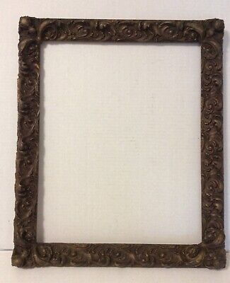 """Antique 18"""" x 15"""" Gesso & Wood Picture Frame"""