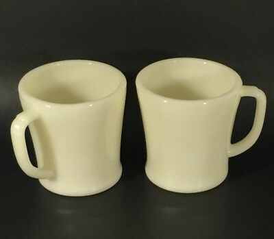 Fire King Cups Mugs Ivory Vintage Lot of 2 Flat Bottom OVEN WARE D Handle
