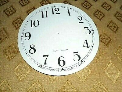 For American Clocks-Seth Thomas Paper Clock Dial- 124mm M/T-GLOSS-Arabic-Spares