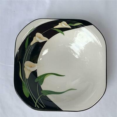 Sango Quadrille Black Lilies Semi-Porcelain Square Coupe Soup Cereal Bowl
