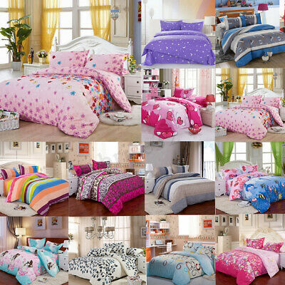Single Double King Size Quilt Duvet Cover Pillow Case Bedding Bedclothes Set