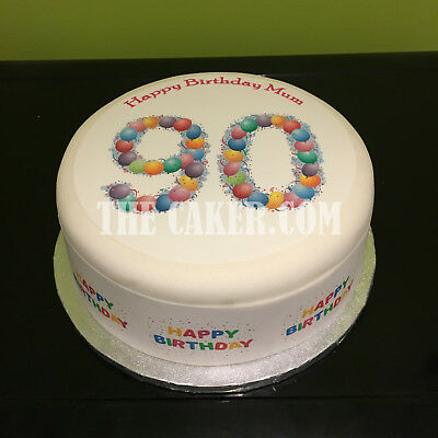 90th Birthday Balloons pre-cut Edible Icing Cake Topper or Ribbon