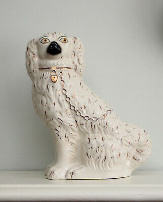 A Charming Antique c19th Staffordshire Ceramic Spaniel