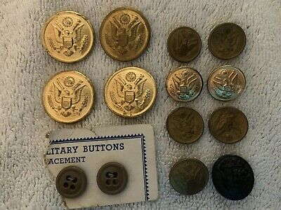 Lot of 14 Vintage Metal Military Buttons Uniform Brass Tone Eagle Stars