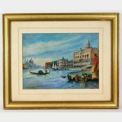 After J.F. Raffaelli Oil on Canvas Venetian Harbor Painting Signed