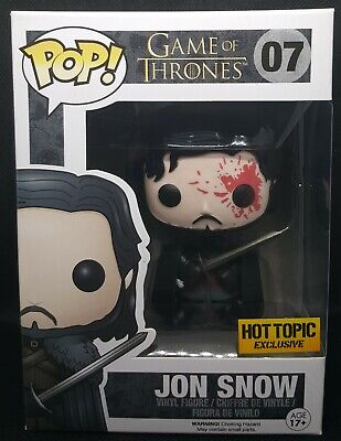 "Funko Pop + Protector! Game of Thrones #07-Jon Snow ""Bloody Eye"" Hot Topic"