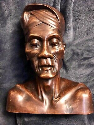 Vintage MCM Hand Carved Wood Bust Older Wise Indigenous Balian Balinese Man 11""