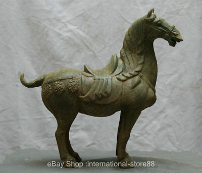 "18"" Old Chinese Bronze Ware Dynasty Palace Stand Horse Steed Statue Sculpture"